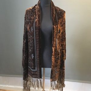 Bohemian Chic Velvet Burnout Shawl Silk Fringed